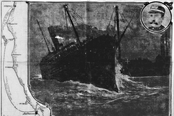 Columbia sinking, following the collision with the steam schooner San Pedro.