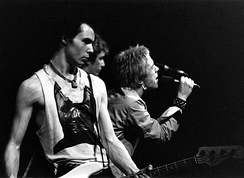 The Sex Pistols (Sid Vicious left, Steve Jones centre, and Johnny Rotten right) performing in Trondheim, Norway, July 1977