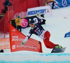 Спортсмен на трассе параллельного слалома Московского этапа Кубка мира 2012