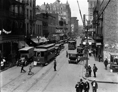 A Clio line streetcar in St. Charles Street, New Orleans Central Business District, 1920.