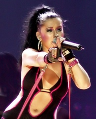 Aguilera performing on The Stripped Tour in 2003