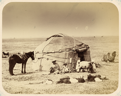 A traditional Kazakh yurt in 1860 in the Syr Darya Oblast. Note the lack of a compression ring at the top.