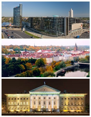 From top to bottom: City Centre, Old Town of Tartu, University of Tartu