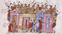 Depiction of the Varangian Guard from the 12th-century Madrid Skylitzes