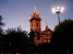 The church in the Toural square, lit to celebrate UNESCO heritage status