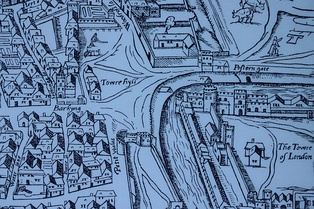 "Tower Hill as shown on the ""Woodcut"" map of c. 1561"