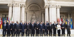 Group photograph of European Union heads of government on occasion of the 60th anniversary of the Treaty of Rome in Rome, Italy