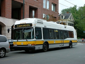 A Trackless Trolley bus AN440LF low-floor of MBTA in Boston, Massachusetts