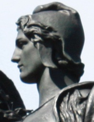 Weinman's 1909 statue of Victory in Baltimore's Union Soldiers and Sailors' Monument has features said to bear a resemblance to those on the Mercury dime.