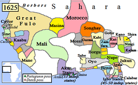 Oyo Empire and surrounding states, c. 1625.