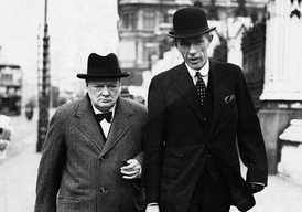 Halifax and Winston Churchill in 1938. Note Halifax's artificial left hand, concealed under a black glove.