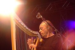 Breton harpist and Celtic music exponent Alan Stivell at Nuremberg, Germany, 2007