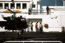 Argentine Navy Alouette III helicopter on board USNS Comfort, February 1991
