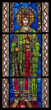 Otto II, Holy Roman Emperor, from a series of Emperors (12th and 13th centuries) The panels are now set into Gothic windows, Strasbourg Cathedral