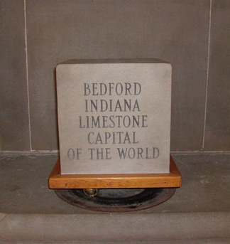 "Exhibit at the Indiana State House touting Bedford, Indiana as the ""Limestone Capital of the World""."