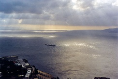 Africa (left, on horizon) and Europe (right), as seen from Gibraltar