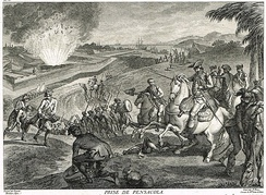 A 1783 engraving depicting the exploding magazine