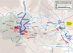 A map showing Stuart's attack on General Daniel Sickles's position in the western outskirts of Chancellorsville.