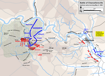 Chancellorsville, actions on May 3, dawn to 10 a.m.