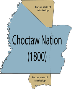 The entire Choctaw Nation's location and size compared to the U.S. state of Mississippi