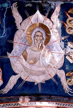 The Ancient of Days, a 14th-century fresco from Ubisi, Georgia.