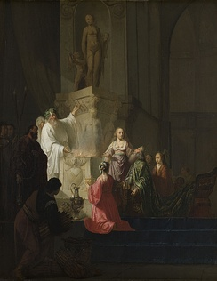 Solomon sinned by acquiring many foreign wives. Solomon's descent into idolatry, Willem de Poorter, Rijksmuseum.