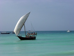 A large dhow with lateen sail rigs