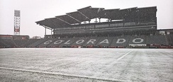 Situated near the base of the Rocky Mountains and sitting at an elevation over 5,200 ft above sea level (1,600 m), Dicks Sporting Goods Park has played host to several famous snow games.
