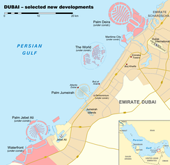 New developments in Dubai with Palm Jebel Ali in the lower left corner