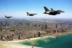 Israeli Air Force F-16I Sufas over Tel Aviv