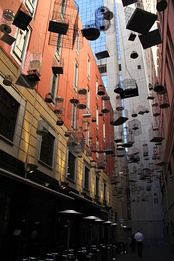 Forgotten Songs, a public artwork situated in a laneway between Pitt and George Street, features 120 suspended bird cages.