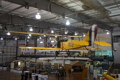 The JN-4D on display at the Frontiers of Flight Museum