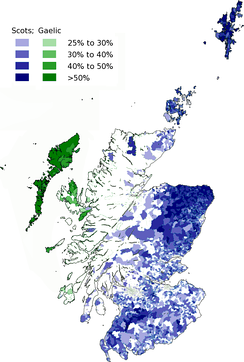 Geographic distribution of Scots and Gaelic speakers in Scotland.