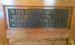 Plaque Commemorating the Formation of the IMF in July 1944 at the Bretton Woods Conference