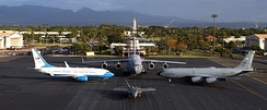 Hawaii ANG in 2010.  The C-40 Clipper, operated by the 65th Airlift Squadron (65 AS) is part of the 15th Airlift Wing at Joint Base Pearl Harbor-Hickam, Hawaii. The aircraft provides executive airlift in the Pacific theater and support for worldwide aerial transportation operations.