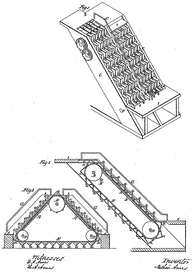 Illustration from U.S. Patent#25,076: Revolving Stairs. Issued August 9, 1859, to Nathan Ames