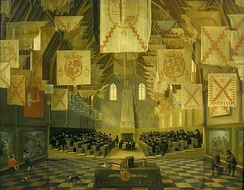 The Great Assembly of the States General, in the Great Hall of the Binnenhof (painting by Dirck van Delen, 1651, formerly attributed to Bartholomeus van Bassen)