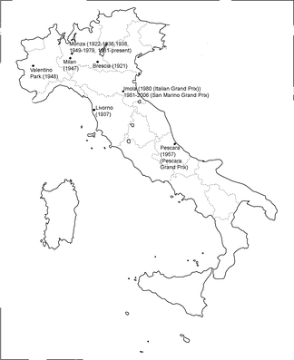 A map of all the locations of the Italian Grand Prix