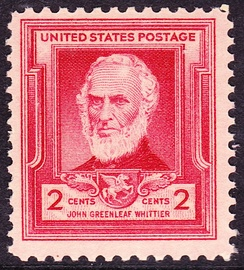 United States postal stamp of Whittier, issued in 1940