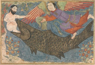 Jonah and the giant fish in the Jami' al-tawarikh (c. 1400), Metropolitan Museum of Art