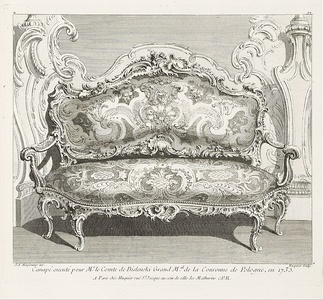 Canapé designed by Meissonnier for Count Bielinski, Warsaw, Poland (1735)