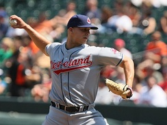 Masterson pitching for the Indians in 2009