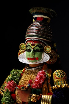 Kathakali is famed for its elaborate costumes and facial painting.