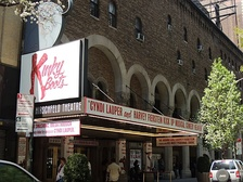 Kinky Boots on the marquee of the Al Hirschfeld Theatre