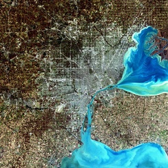 A simulated-color satellite image of the Detroit metro area, including Windsor across the river, taken on NASA's Landsat 7 satellite