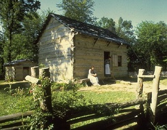 Replica of Lincoln's Boyhood Home in Little Pigeon Creek Community.