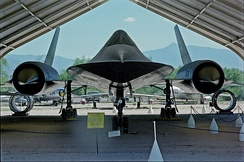 Lockheed SR-71 Blackbird.  Since 1976, the world's fastest air-breathing manned aircraft.