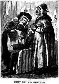 Illustration in Charles Dickens' Martin Chuzzlewit. Nurse Sarah Gamp (left) became a stereotype of untrained and incompetent nurses of the early Victorian era, before the reforms of Nightingale