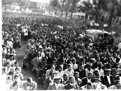 More than 20,000 black, Indian and coloured South Africans gather in Durban on May 28, 1950 to protest the Group Area and Suppression of Communism bills.