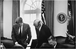 President Kennedy, Secretary of State Dean Rusk and McNamara in October 1962